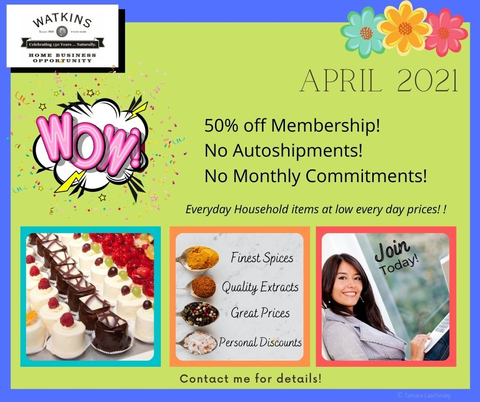 Watkins April Specials and Promotions 2021 Home Business Opportunity